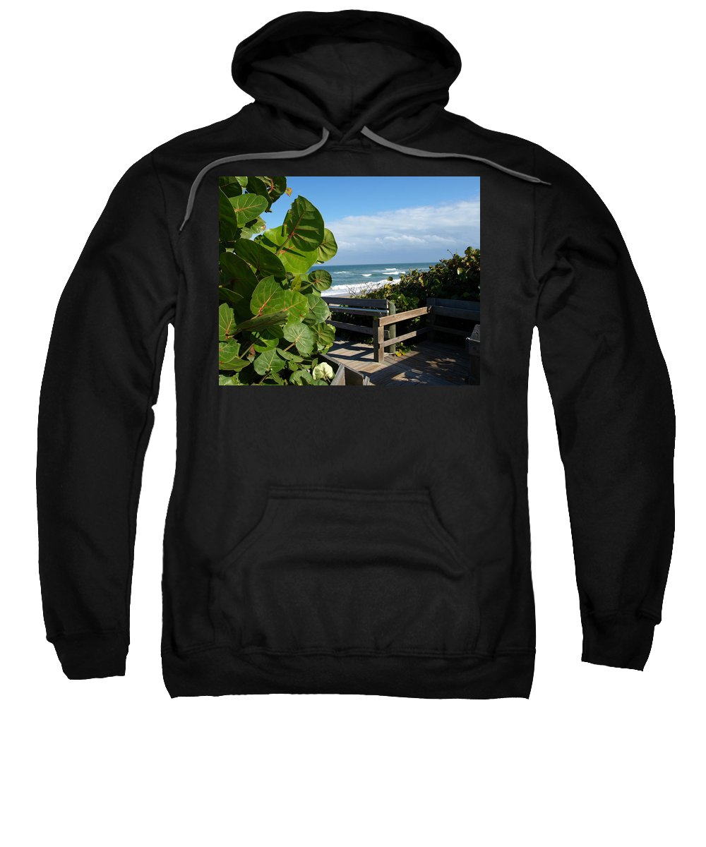 Seagrape; Sea; Grape; Ocean; Cocoanut; Point; Melbourne; Beach; Florida; Waves; Surf; Seascape; Brev Sweatshirt featuring the photograph Melbourne Beach Florida by Allan Hughes