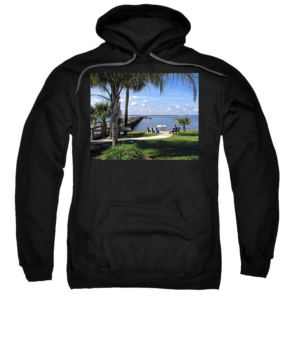 Melbourne; Beach; Pier; Florida; Peaceful; Peace; Indian; River; South; Scene; Scenery; South; South Sweatshirt featuring the photograph Melbourne Beach Pier In Florida by Allan Hughes