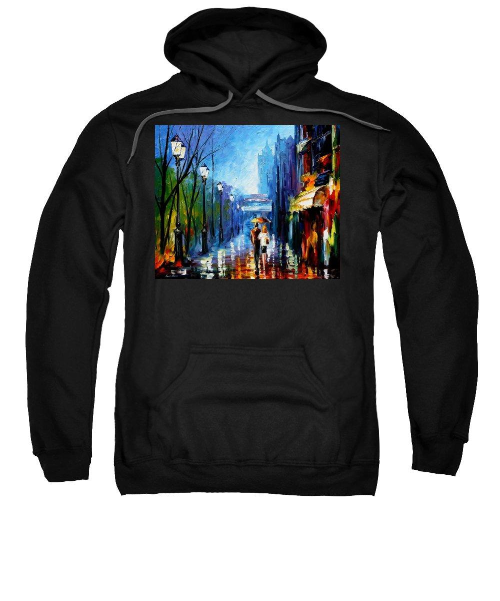 Afremov Sweatshirt featuring the painting Memories Of Paris by Leonid Afremov
