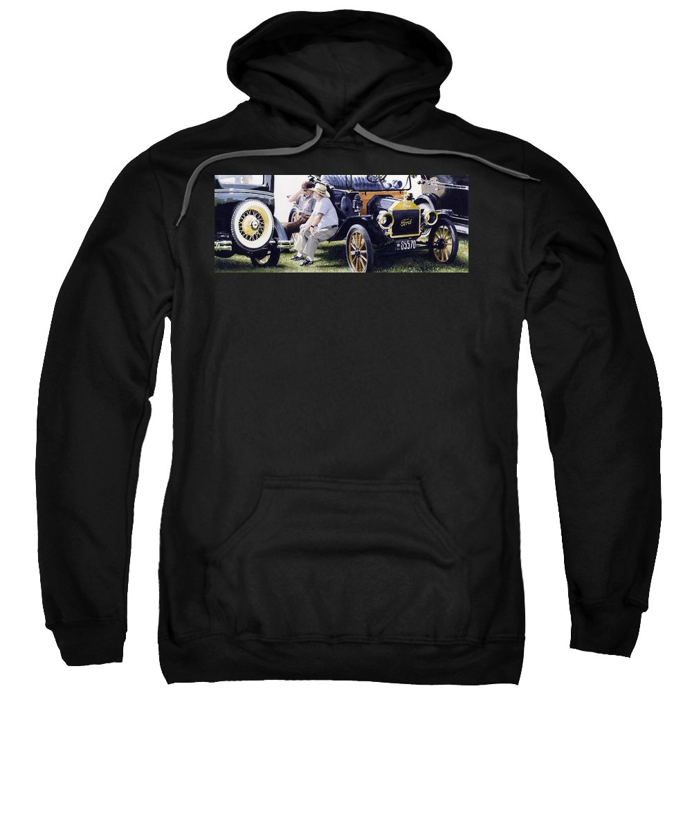 Antique Cars Sweatshirt featuring the painting Men And Their Toys by Denny Bond