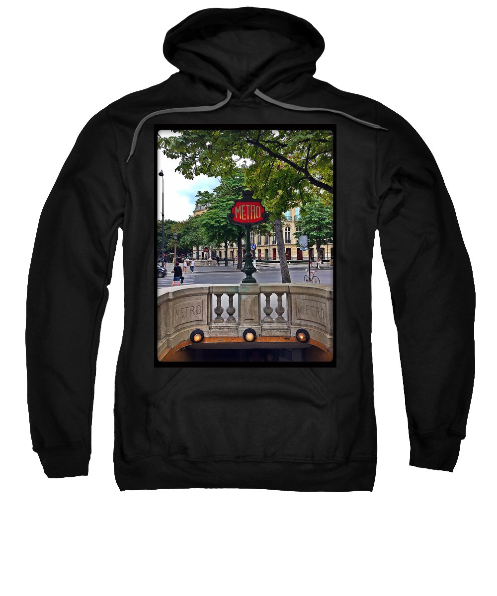 Metro Sign Sweatshirt featuring the photograph Metro by Sophie Michaud