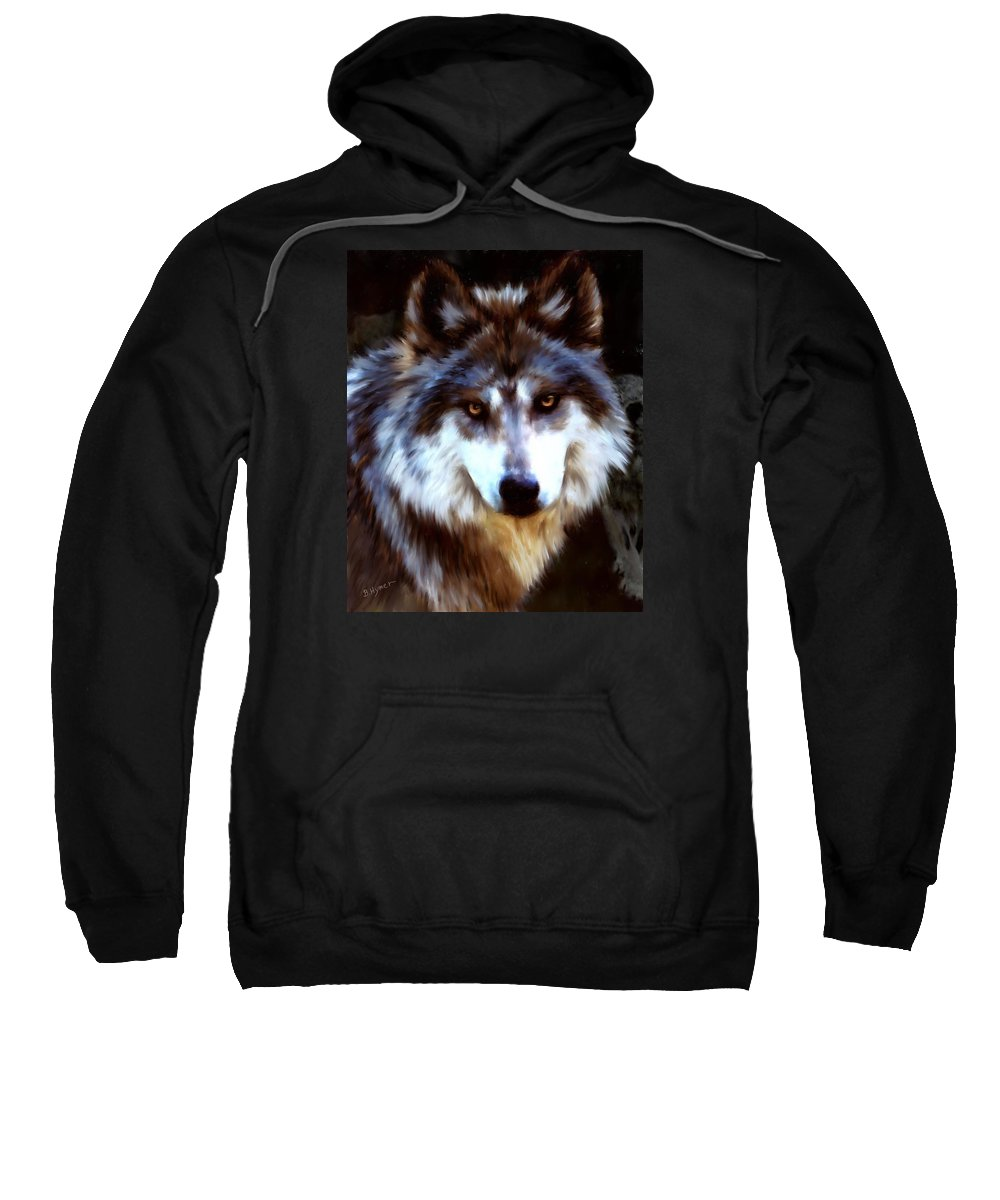 Wolf Sweatshirt featuring the digital art Mexican Wolves by Barbara Hymer