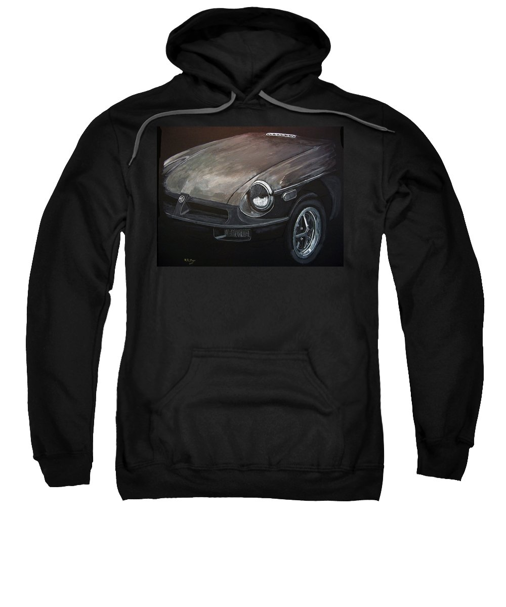 Car Sweatshirt featuring the painting Mgb Rubber Bumper Front by Richard Le Page