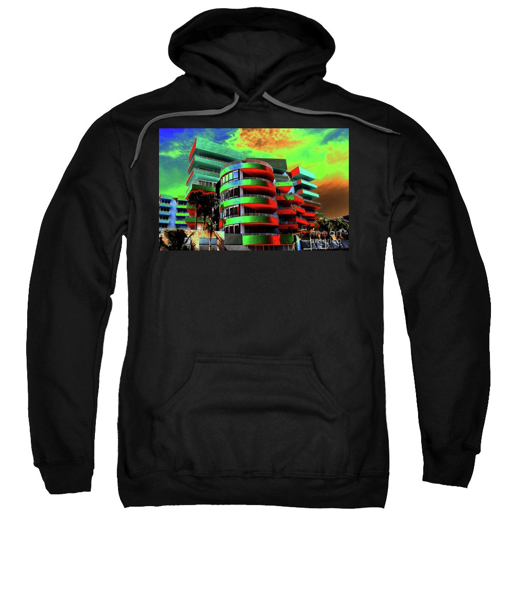 Art Deco Architecture Sweatshirt featuring the painting Miami by David Lee Thompson