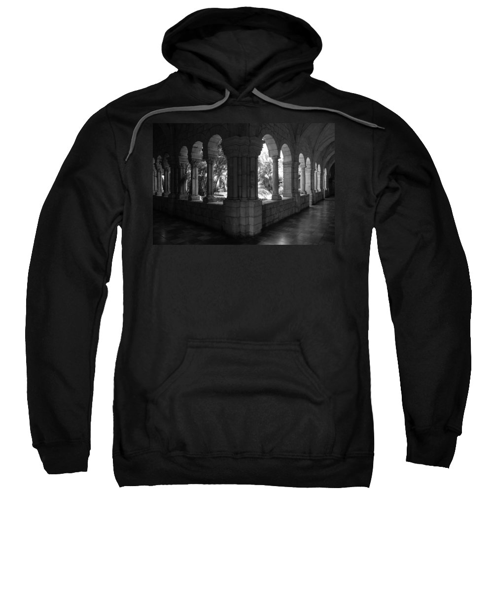 Black And White Sweatshirt featuring the photograph Miami Monastery In Black And White by Rob Hans