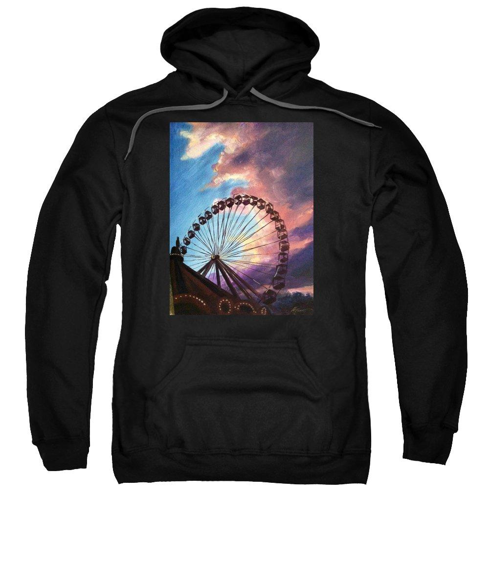 Chicago Sweatshirt featuring the painting Mia's Ferris Wheel by Marietta Faso