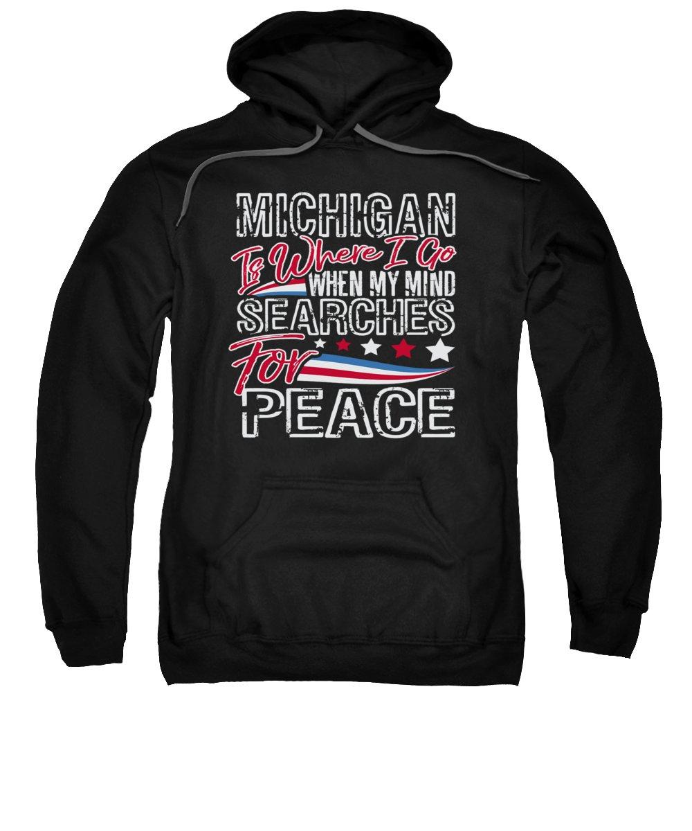 Veterans-day Sweatshirt featuring the digital art Michigan American Patriotic Memorial Day by Passion Loft