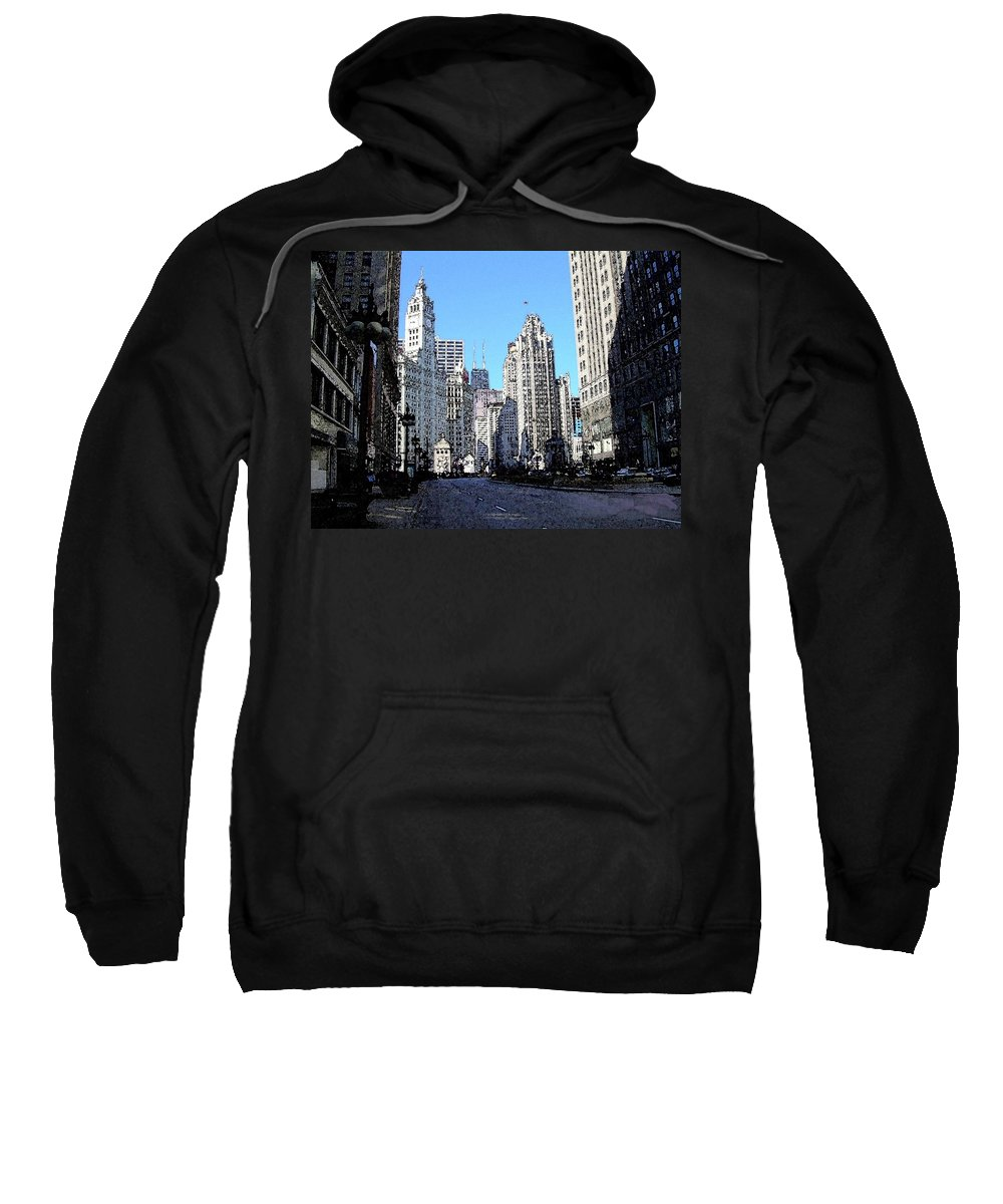 Chicago Sweatshirt featuring the digital art Michigan Ave Wide by Anita Burgermeister