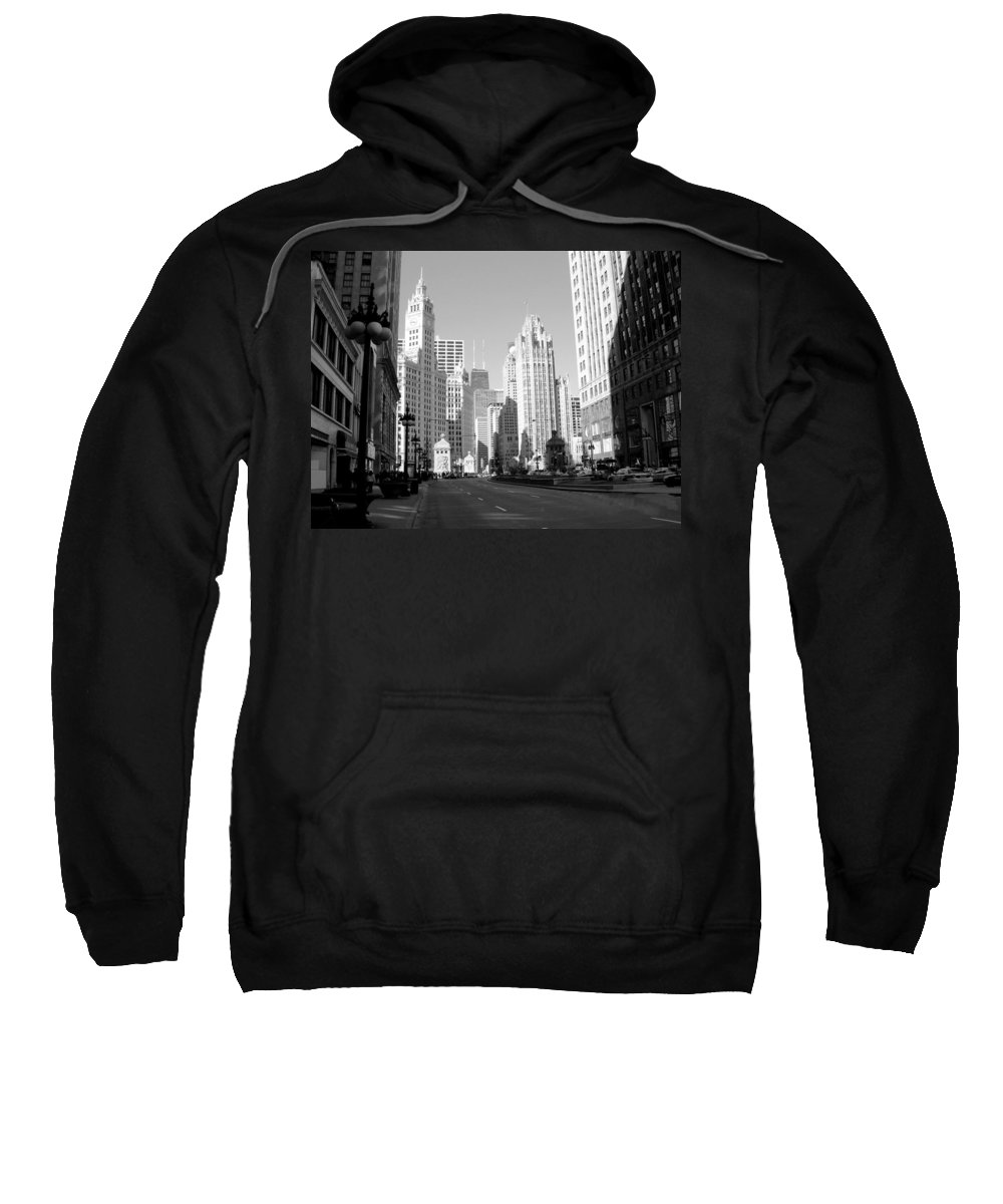 Chicago Sweatshirt featuring the photograph Michigan Ave Wide B-w by Anita Burgermeister
