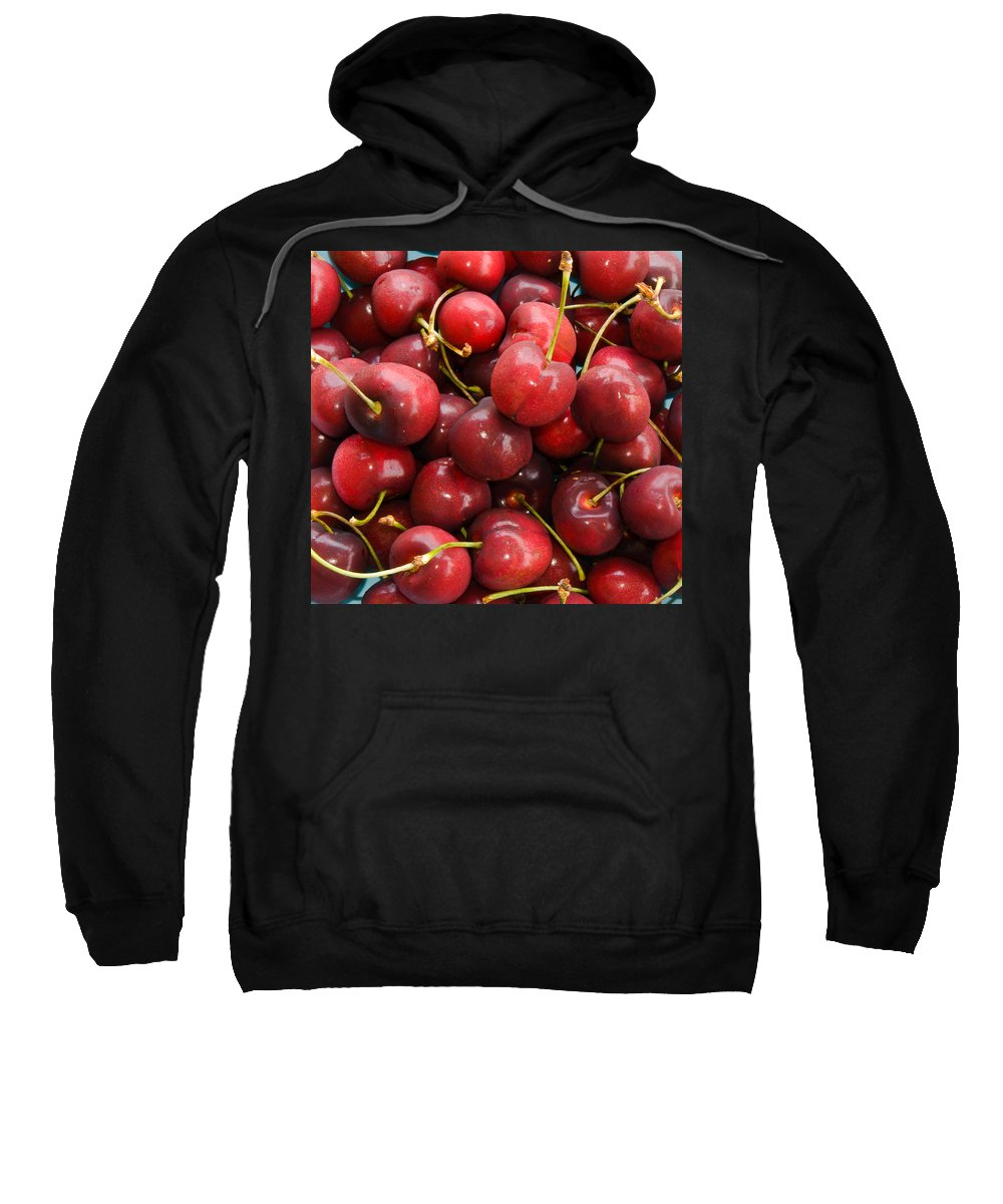 Life; Bowl; Cherry; Cherries; Dish; Bunch; Pile; Stem; Pit; Pie; Fruit; Blossom; Tree; Florida; Ripe Sweatshirt featuring the photograph Michigan Cherries by Allan Hughes
