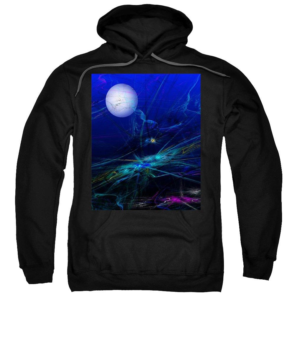 Fine Art Digital Art Sweatshirt featuring the digital art Midnight Abstract by David Lane