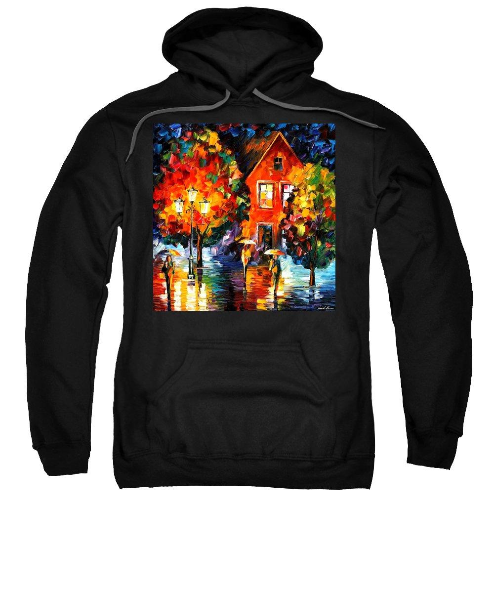 Afremov Sweatshirt featuring the painting Midnight Rain by Leonid Afremov
