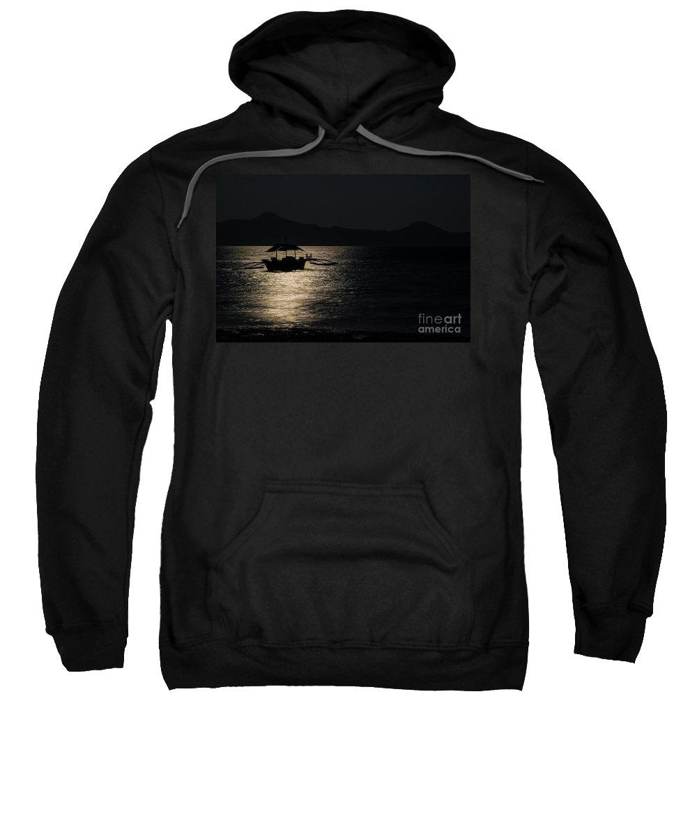 Boat Sweatshirt featuring the photograph Midnight Sailing by Adam Isfendiyar