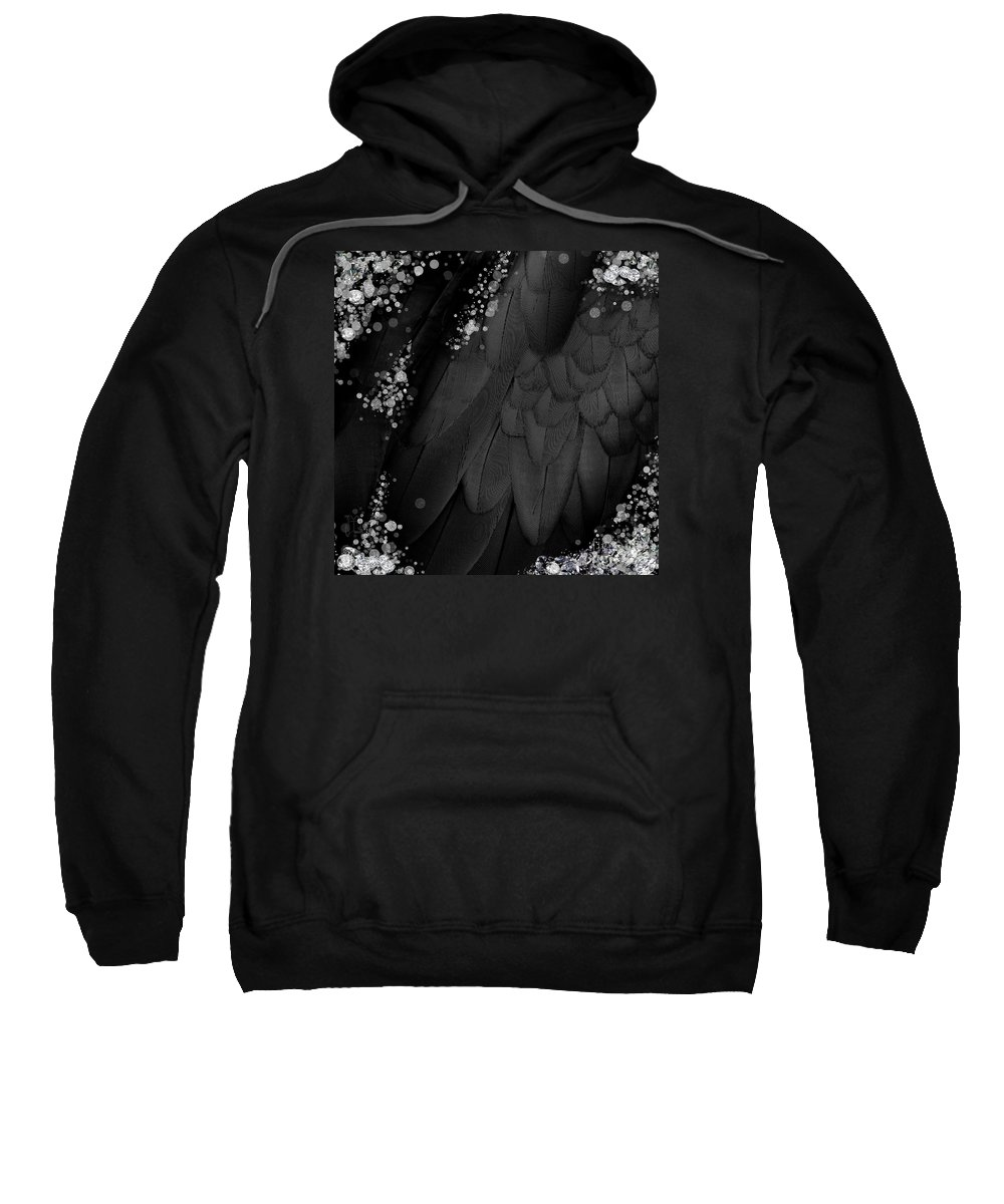 Fantasy Sweatshirt featuring the digital art Midsummer Magik Quicksilver, Diamonds, Abstract Feathers, Silver Sparkles by Tina Lavoie