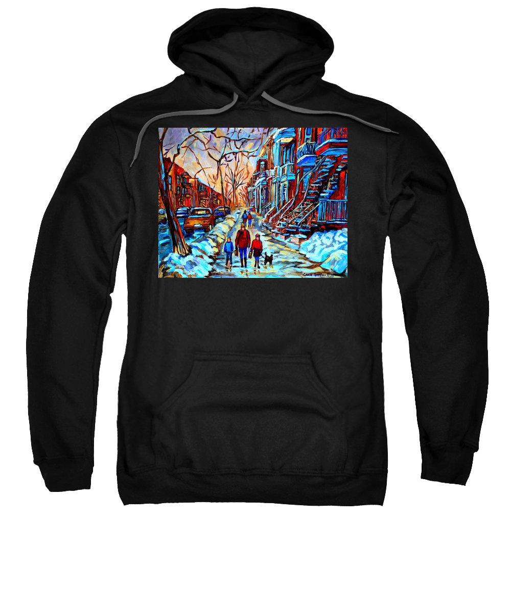 Montreal Sweatshirt featuring the painting Mile End Montreal Neighborhoods by Carole Spandau