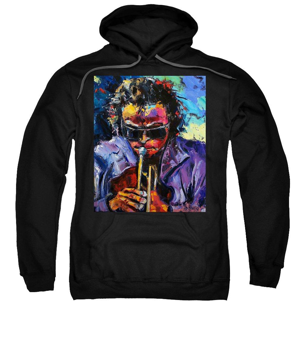 Miles Davis Sweatshirt featuring the painting Miles Davis by Debra Hurd