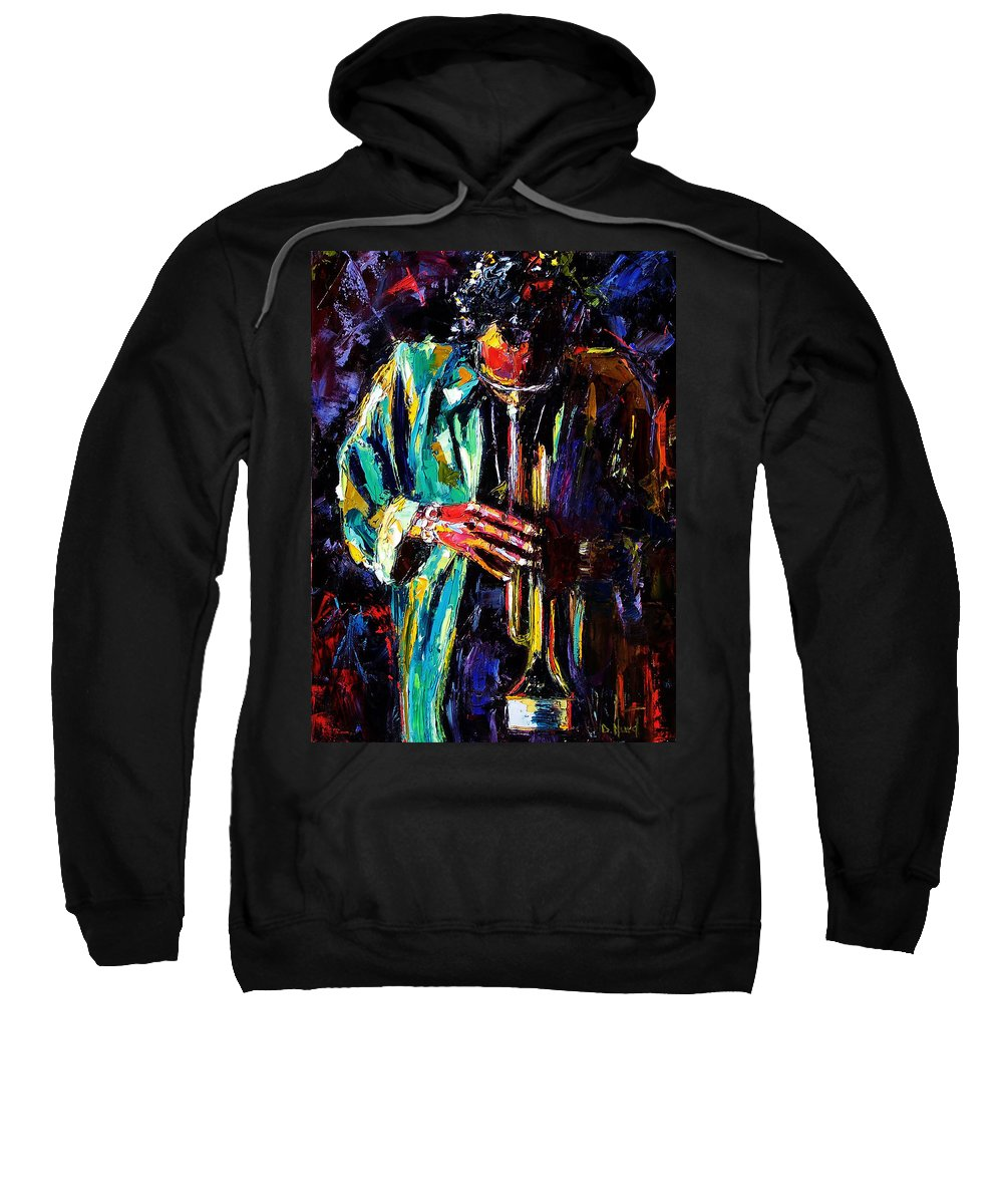 Miles Davis Sweatshirt featuring the painting Miles by Debra Hurd