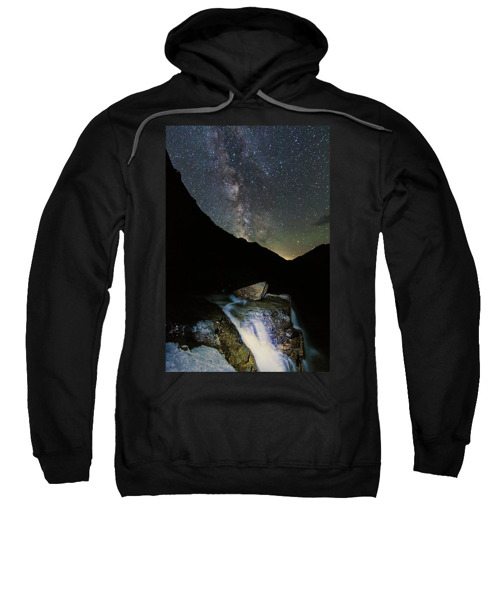 Astrophotography Sweatshirt featuring the photograph Milkyway Over Haystack by Alan Anderson