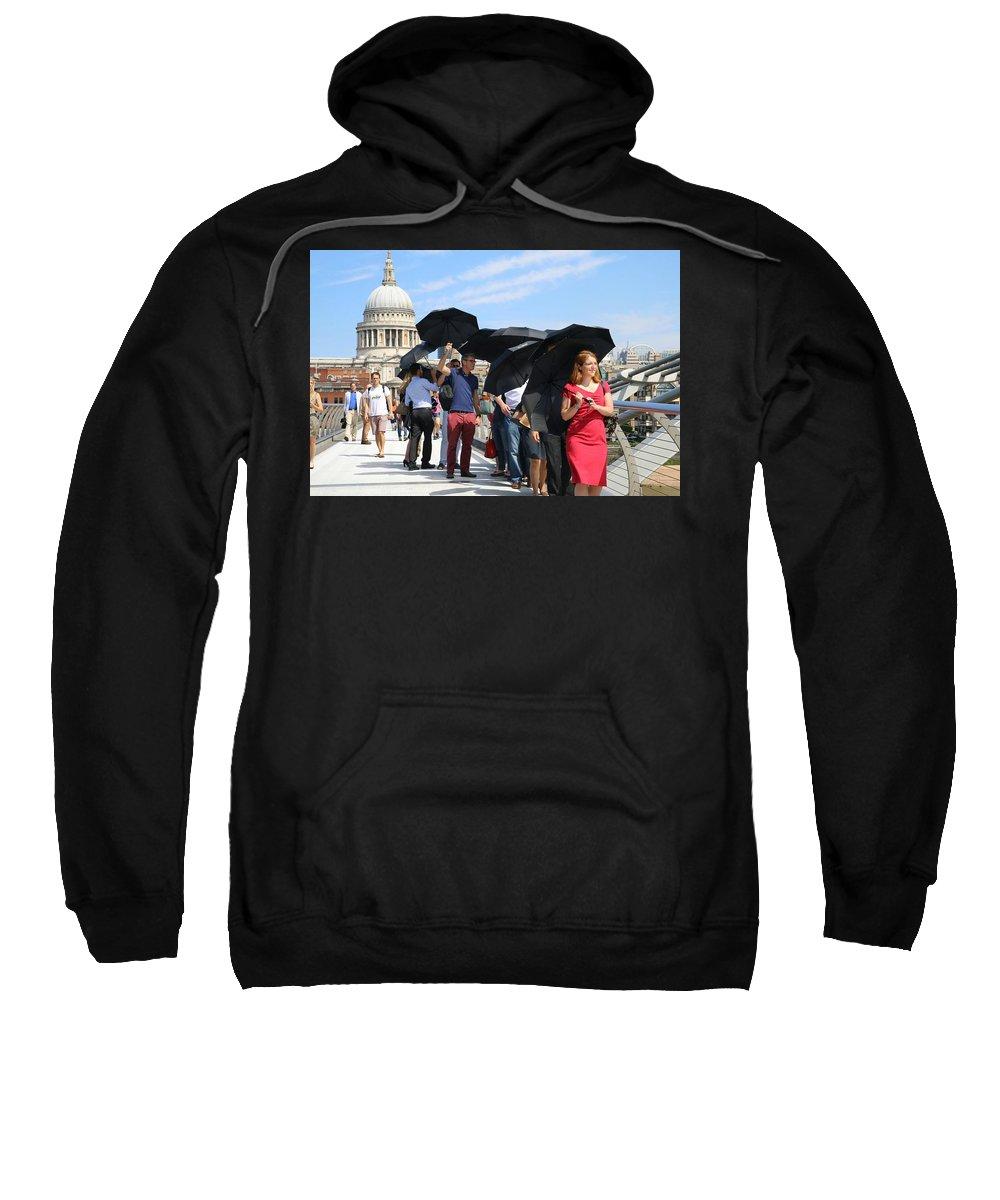 Millennium Bridge And St Pauls Sweatshirt featuring the photograph Millennium Bridge And St Pauls by Yesim Tetik