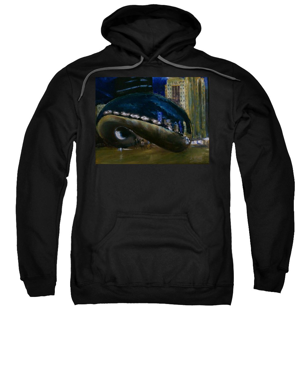 Cityscape Sweatshirt featuring the painting Millennium Park - Chicago by Stephen King