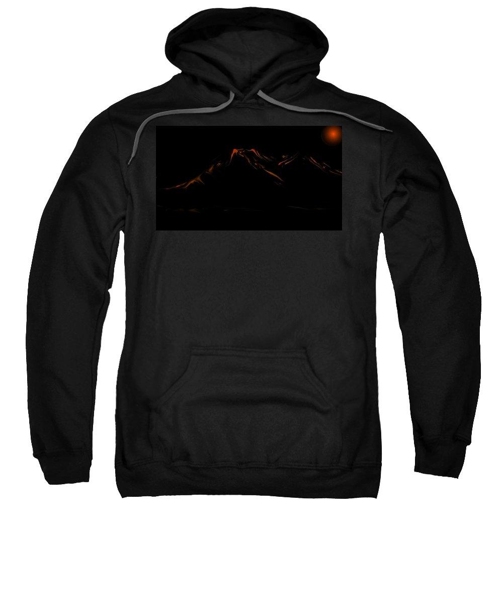 Digital Art Sweatshirt featuring the digital art Minimal Landscape Orange by David Lane