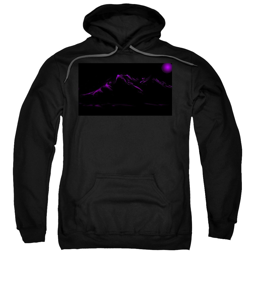 Digital Art Sweatshirt featuring the digital art Minimal Landscape Purple by David Lane
