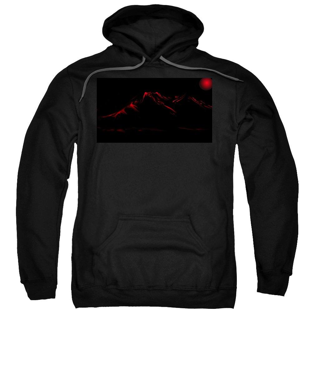 Digital Art Sweatshirt featuring the digital art Minimal Landscape Red by David Lane