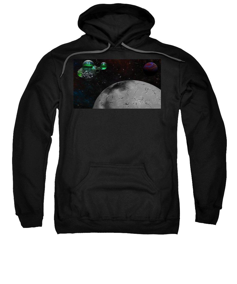 Science Fiction Sweatshirt featuring the digital art Mining Operation Deep Space by David Lane