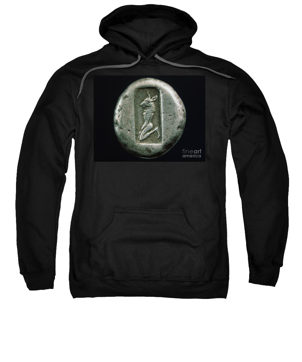 480 B.c. Sweatshirt featuring the photograph Minotaur On A Greek Coin by Granger