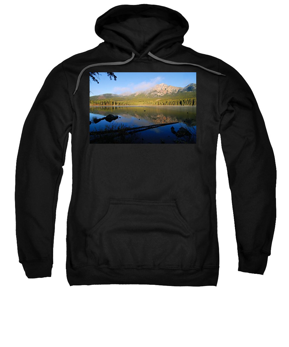 Pyramid Mountain Sweatshirt featuring the photograph Mist On Pyramid Mountain by Larry Ricker