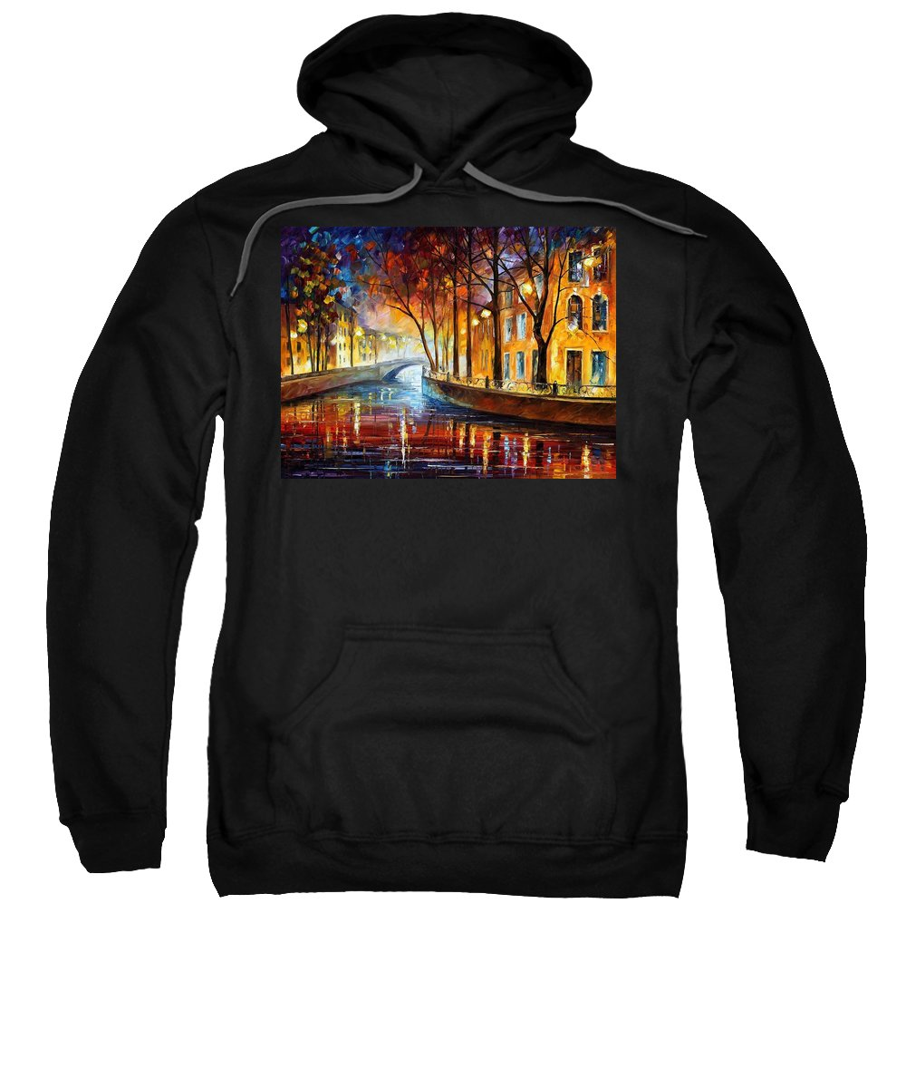 Afremov Sweatshirt featuring the painting Misty Melody by Leonid Afremov