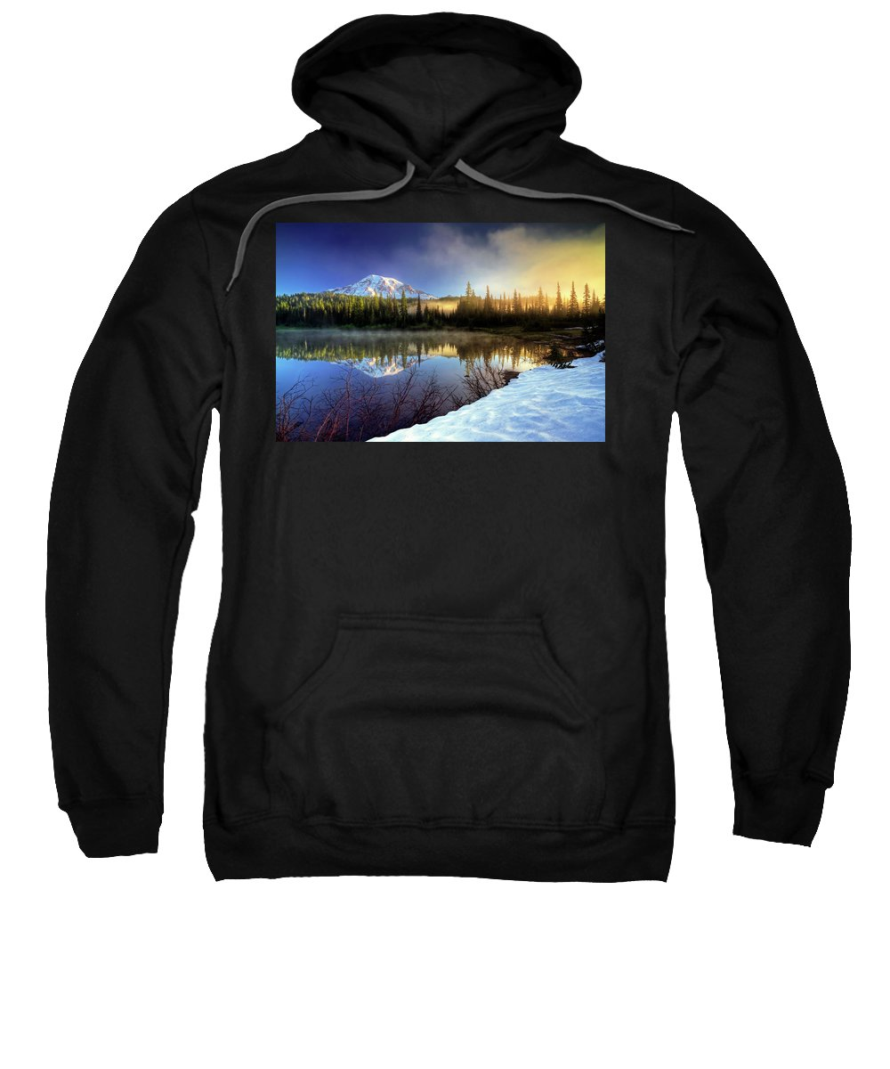 Mountain Sweatshirt featuring the photograph Misty Morning Lake by William Freebilly photography