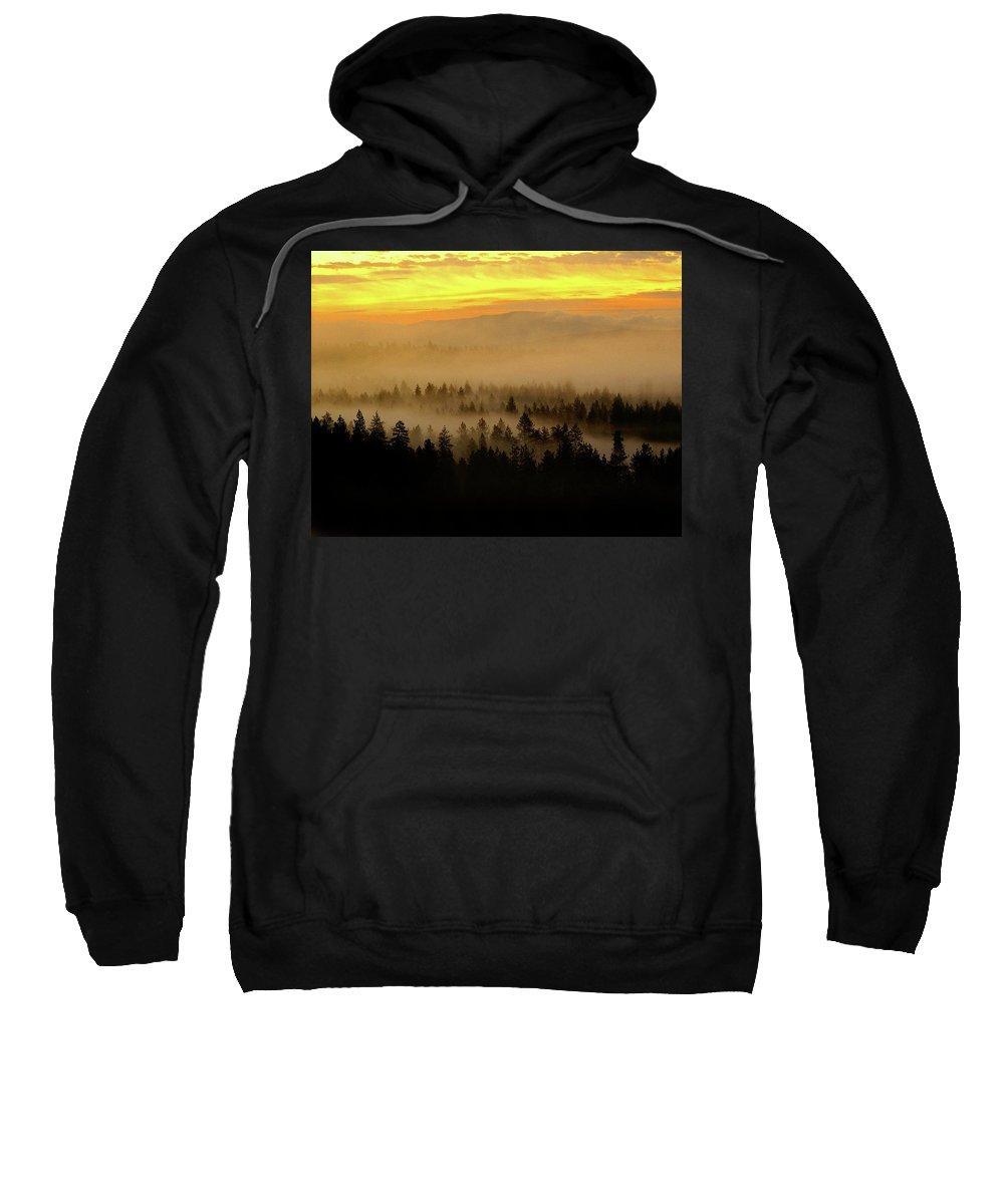 Nature Sweatshirt featuring the photograph Misty Sunrise by Ben Upham III