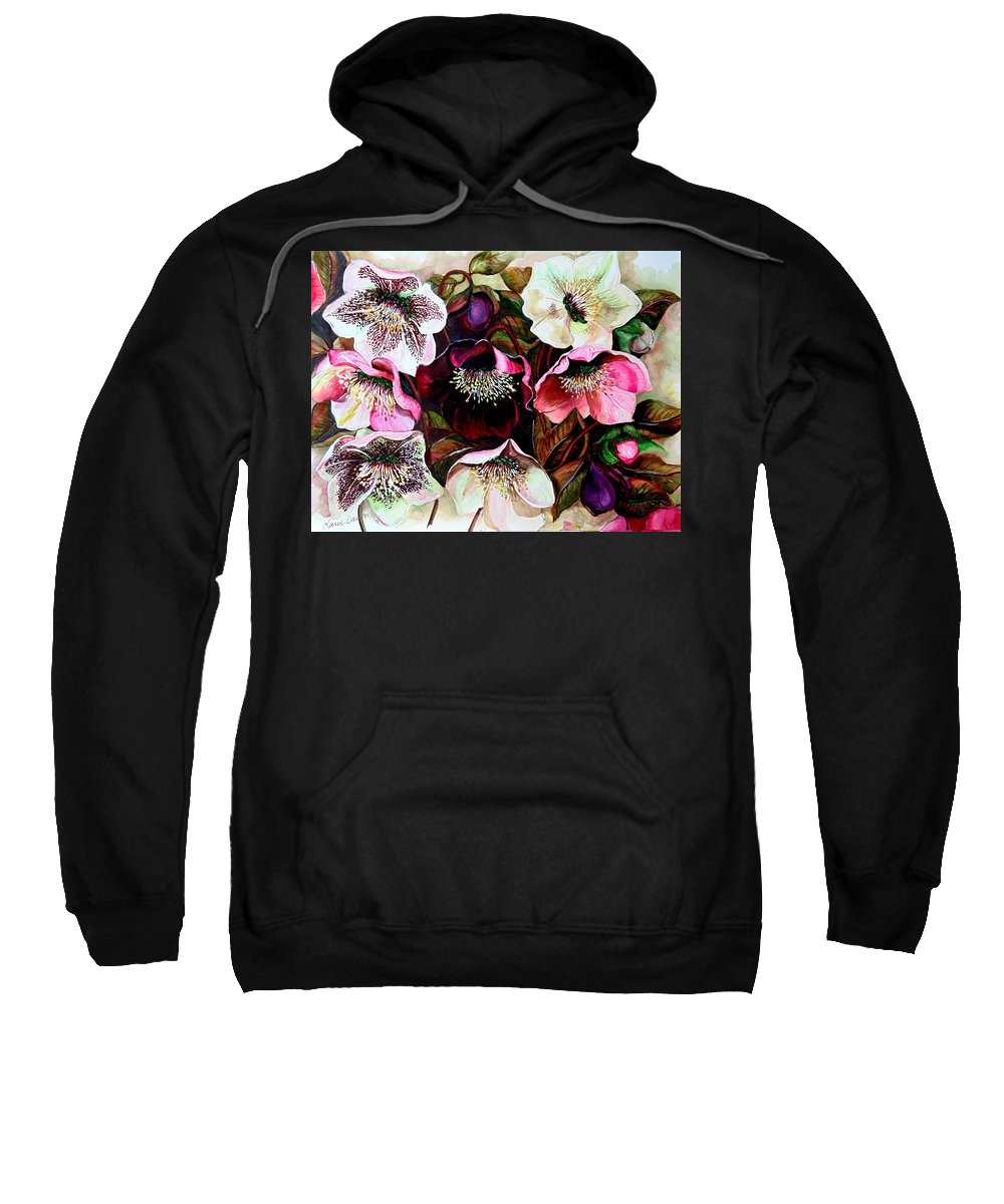 Pink Floral Sweatshirt featuring the painting Mixed Hellebore by Karin Dawn Kelshall- Best