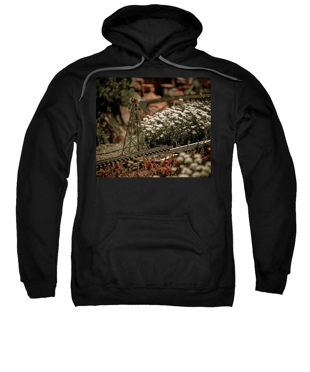 Train Sweatshirt featuring the photograph Model Railroad Windmill by Marilyn Hunt