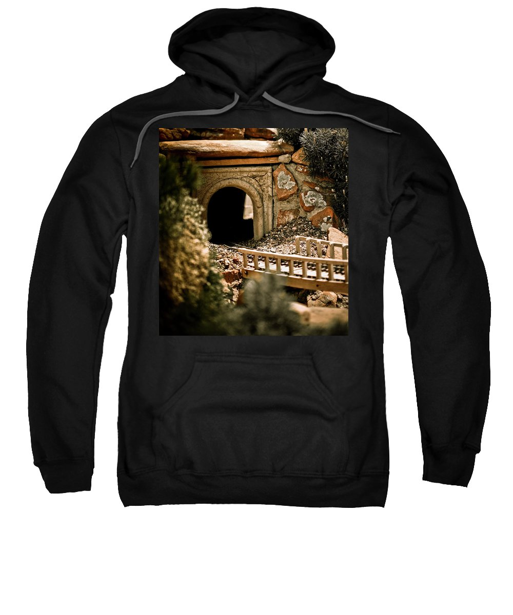 Train Sweatshirt featuring the photograph Model Train Tunnel 2 by Marilyn Hunt