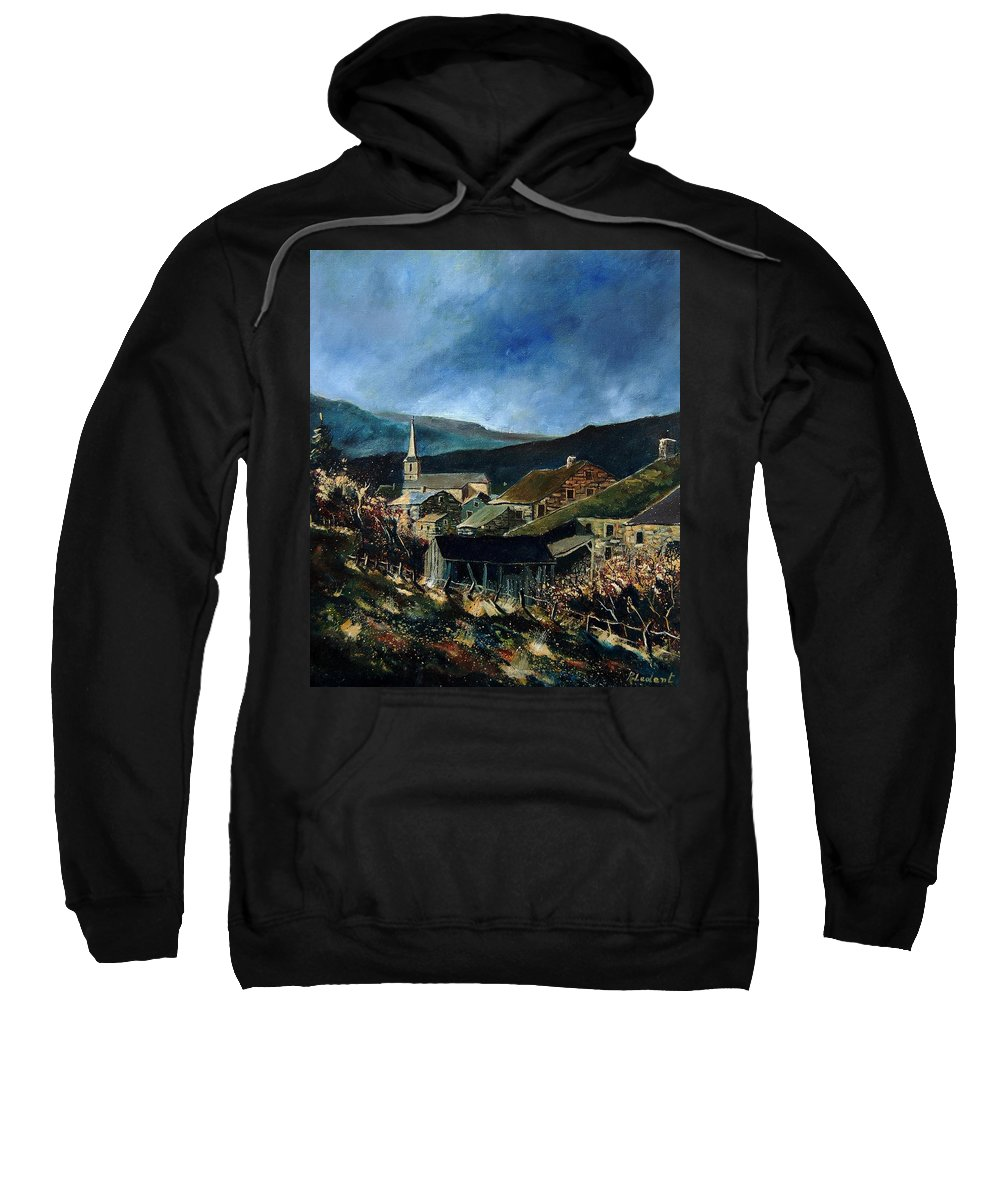 Village Sweatshirt featuring the painting Mogimont Village Ardennes by Pol Ledent