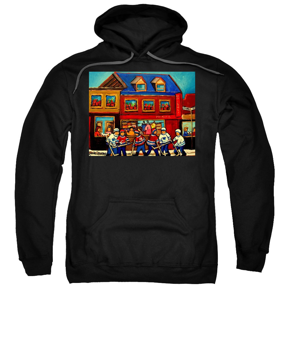 Moishes Steakhouse Sweatshirt featuring the painting Moishes Steakhouse Hockey Practice by Carole Spandau