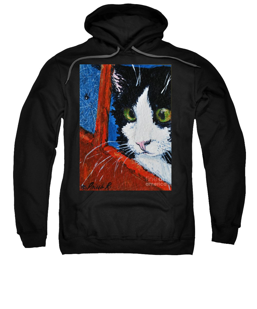 Cat Sweatshirt featuring the painting Molly by Reina Resto