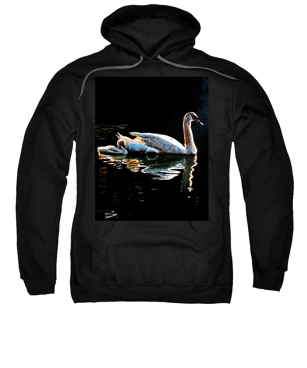 Swan Sweatshirt featuring the painting Mom And Baby Swan by Stan Hamilton