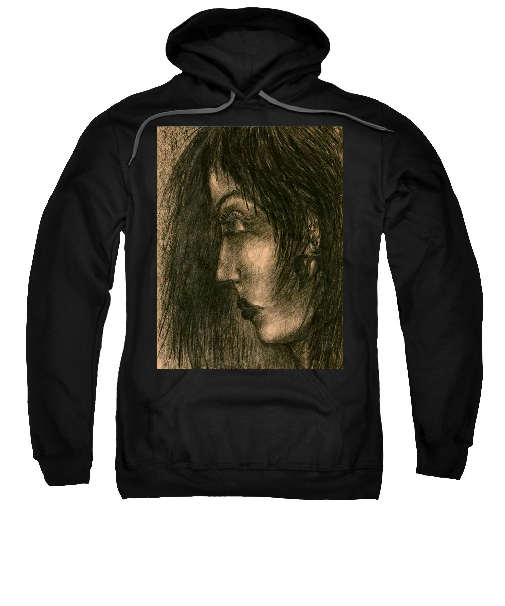 Psychedelic Sweatshirt featuring the drawing Moment by Wojtek Kowalski