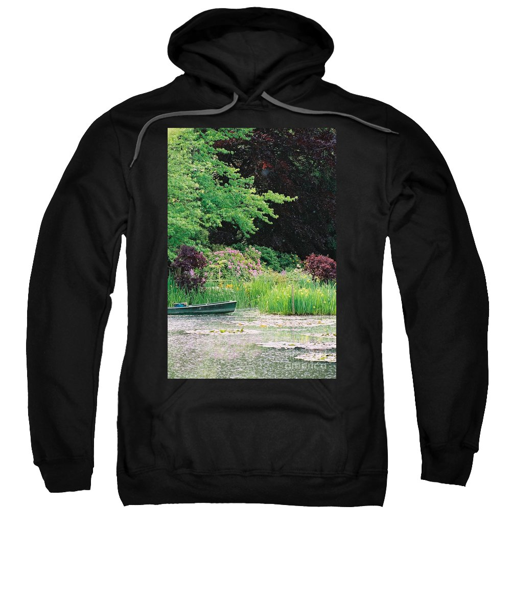 Monet Sweatshirt featuring the photograph Monet's Garden Pond And Boat by Nadine Rippelmeyer
