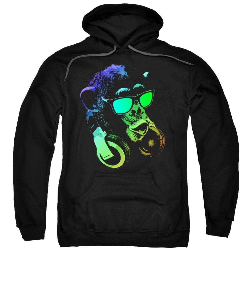 Monkey Sweatshirt featuring the mixed media Monkey Dj Neon Light by Filip Hellman