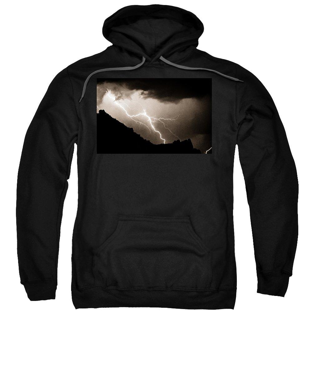 Lightning Sweatshirt featuring the photograph Mono Tone Lightning Striking The Ridge by James BO Insogna