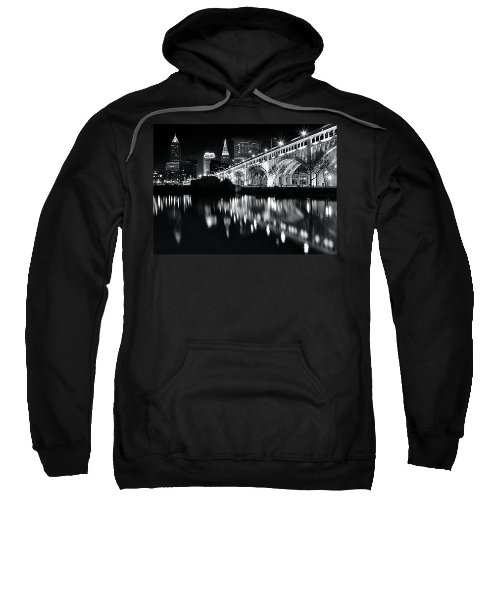 Cleveland Sweatshirt featuring the photograph Monochrome Cleveland by Frozen in Time Fine Art Photography
