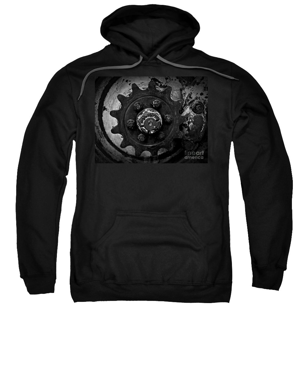 Monochrome Gear Sweatshirt featuring the photograph Monochrome Gear by Chalet Roome-Rigdon