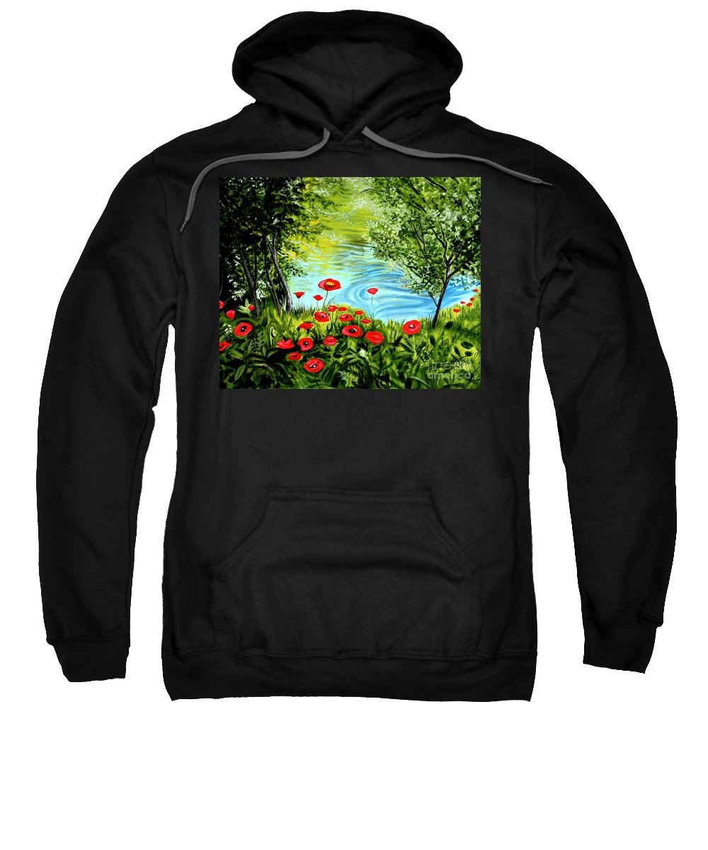 Landscape Sweatshirt featuring the painting Monte Rio Poppies by Elizabeth Robinette Tyndall