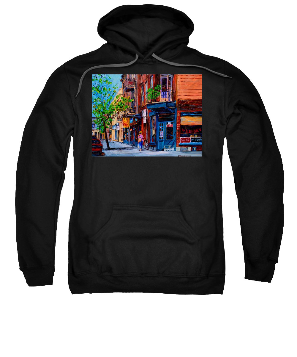 Montreal Sweatshirt featuring the painting Montreal Depanneurs by Carole Spandau