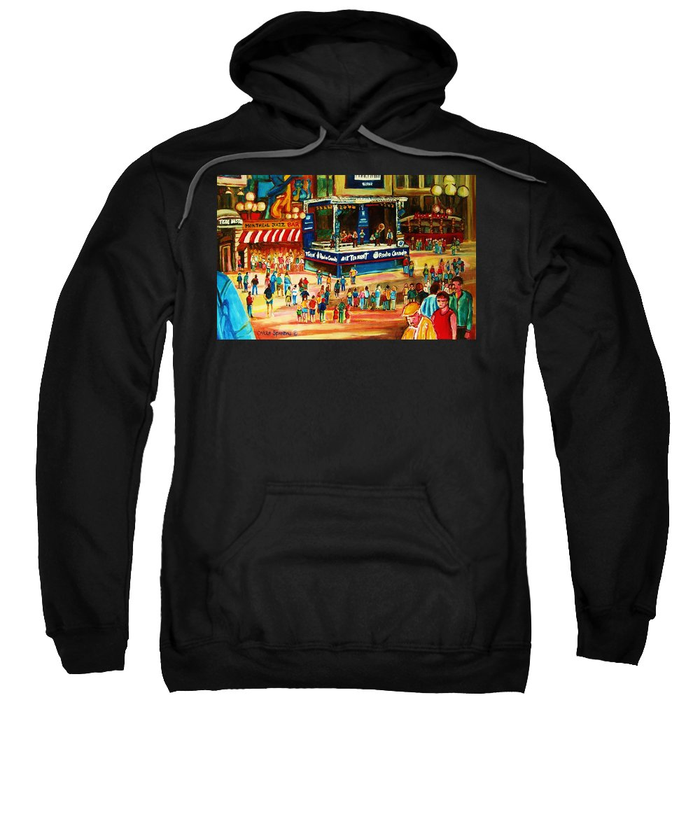 Montreal Sweatshirt featuring the painting Montreal Jazz Festival by Carole Spandau