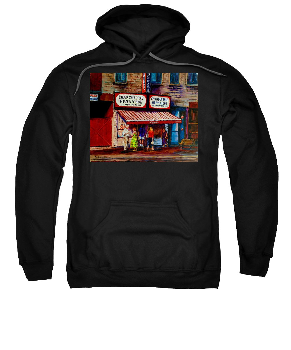 Streets Of Montreal Sweatshirt featuring the painting Montreal Paintings Available For Fundraisers By Streetscene Artist Carole Spandau by Carole Spandau